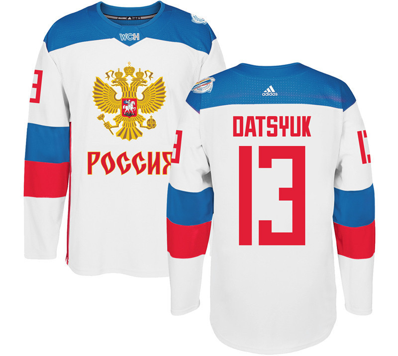 Russia 13 Pavel Datsyuk White 2016 World Cup Of Hockey Premier Player Jersey