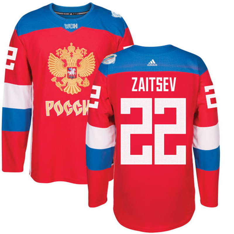 Russia 22 Nikita Zaitsev Red 2016 World Cup Of Hockey Premier Player Jersey
