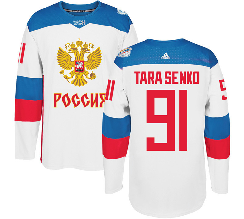 Russia 91 Vladimir Tarasenko White 2016 World Cup Of Hockey Premier Player Jersey