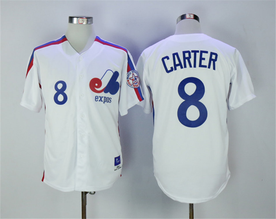 Expos 8 Gary Carter White 1982 Throwback Jersey
