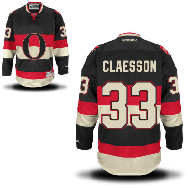 Senators 33 Fredrik Claesson Black Reebok Alternate Premier Jersey