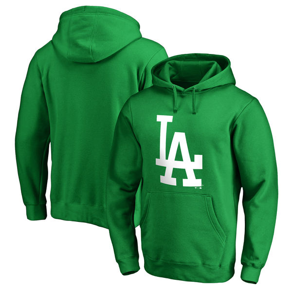 Men's Los Angeles Dodgers Fanatics Branded Kelly Green St. Patrick's Day White Logo Pullover Hoodie