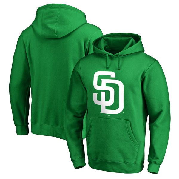 Men's San Diego Padres Fanatics Branded Kelly Green St. Patrick's Day White Logo Pullover Hoodie