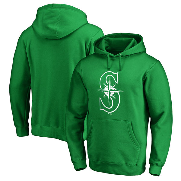 Men's Seattle Mariners Fanatics Branded Kelly Green St. Patrick's Day White Logo Pullover Hoodie
