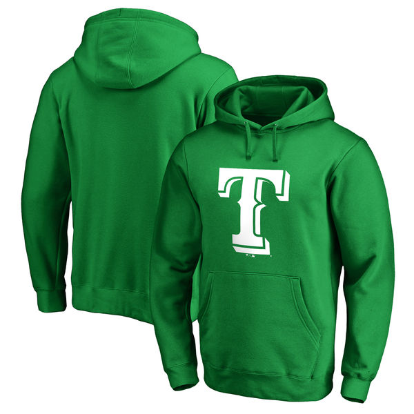Men's Texas Rangers Fanatics Branded Kelly Green St. Patrick's Day White Logo Pullover Hoodie