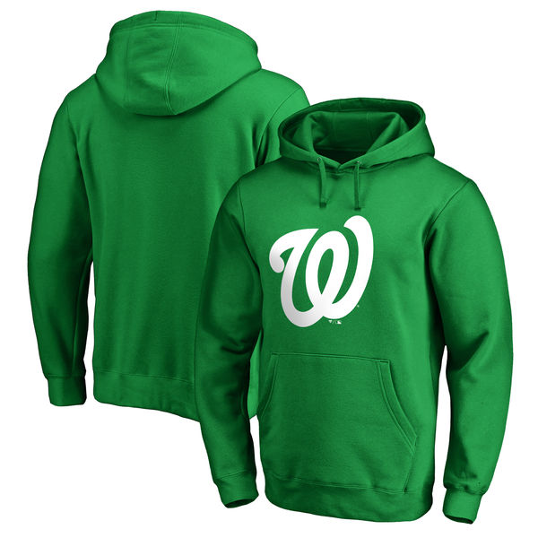 Men's Washington Nationals Fanatics Branded Kelly Green St. Patrick's Day White Logo Pullover Hoodie