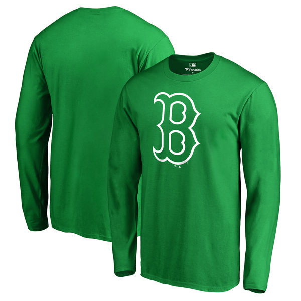 Men's Boston Red Sox Fanatics Branded Kelly Green St. Patrick's Day White Logo Long Sleeve T-Shirt