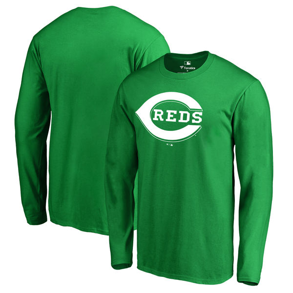 Men's Cincinnati Reds Fanatics Branded Kelly Green St. Patrick's Day White Logo Long Sleeve T-Shirt