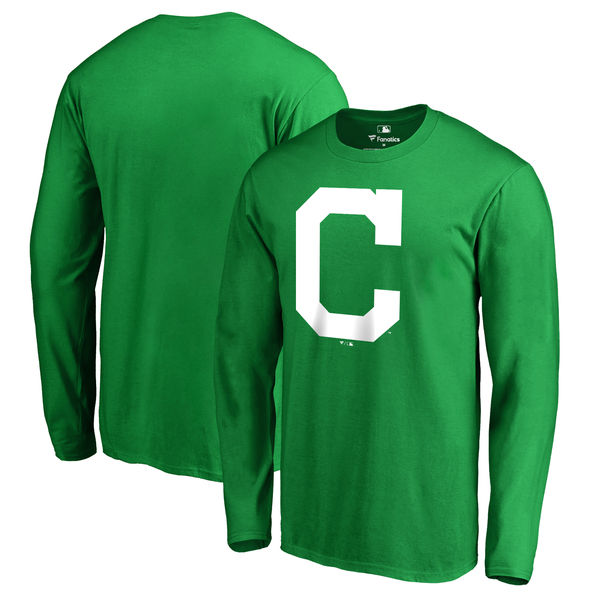 Men's Cleveland Indians Fanatics Branded Kelly Green St. Patrick's Day White Logo Long Sleeve T-Shirt