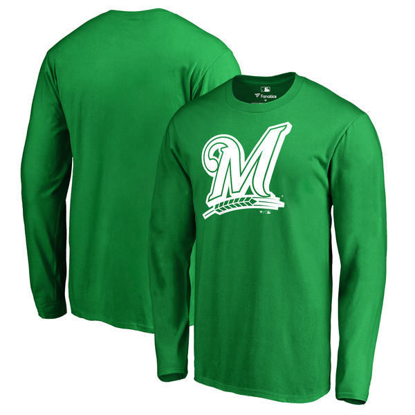 Men's Milwaukee Brewers Fanatics Branded Kelly Green St. Patrick's Day White Logo Long Sleeve T-Shirt