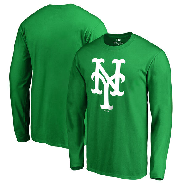 Men's New York Mets Fanatics Branded Kelly Green St. Patrick's Day White Logo Long Sleeve T-Shirt