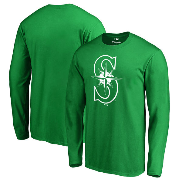 Men's Seattle Mariners Fanatics Branded Kelly Green St. Patrick's Day White Logo Long Sleeve T-Shirt