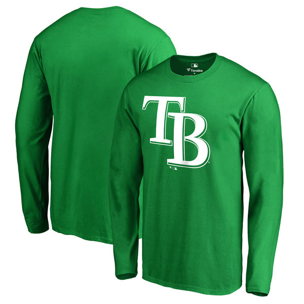 Men's Tampa Bay Rays Fanatics Branded Kelly Green St. Patrick's Day White Logo Long Sleeve T-Shirt