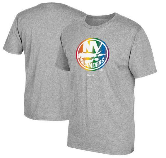 New York Islanders Gray Reebok Rainbow Pride Men's Short Sleeve T-Shirt
