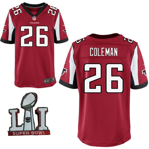 Nike Falcons 26 Tevin Coleman Red 2017 Super Bowl LI Elite Jersey