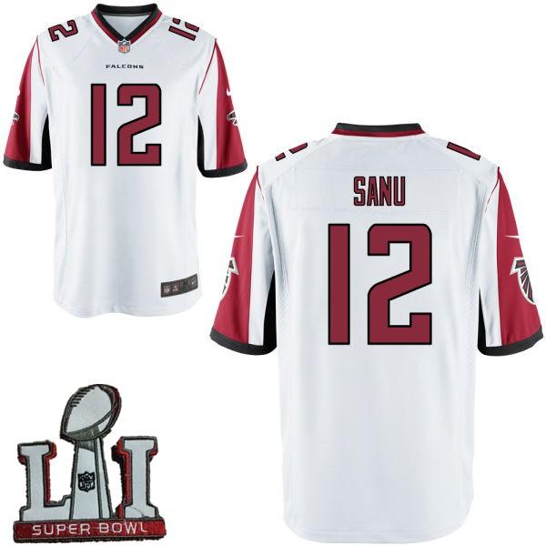 Nike Falcons 12 Mohamed Sanu White Youth 2017 Super Bowl LI Game Jersey