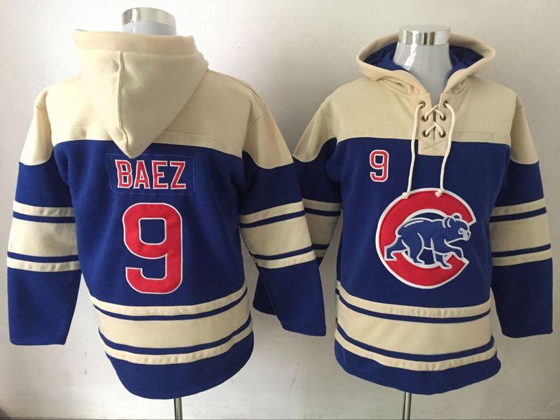 Cubs 9 Javier Baez Blue All Stitched Hooded Sweatshirt