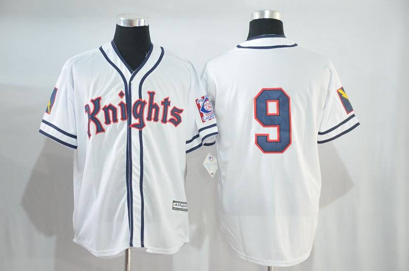 Knights 9 White Stitched Movie Baseball Jersey
