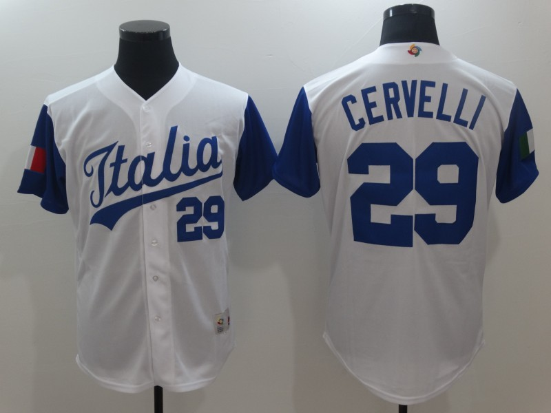 Men's Italy Baseball 29 Francisco Cervelli White 2017 World Baseball Classic Jersey