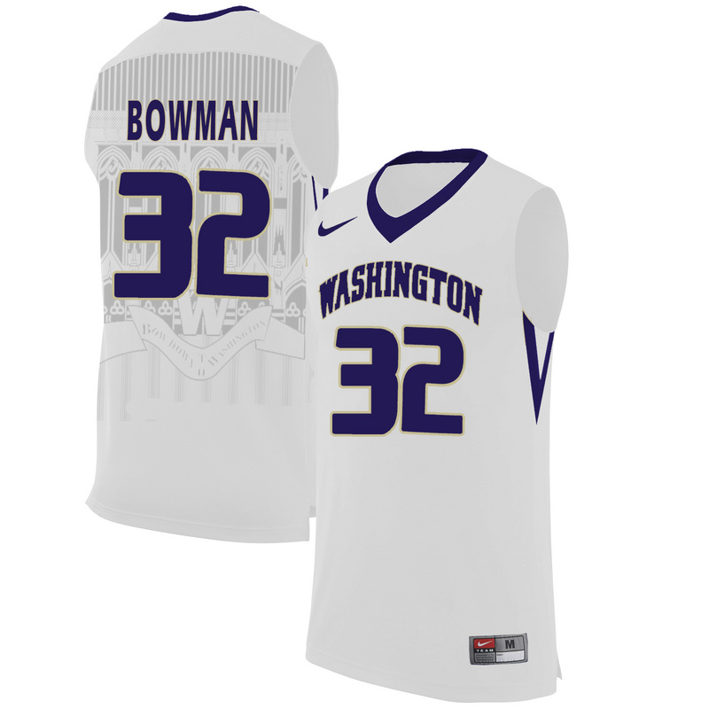 Washington Huskies 32 Greg Bowman White College Basketball Jersey