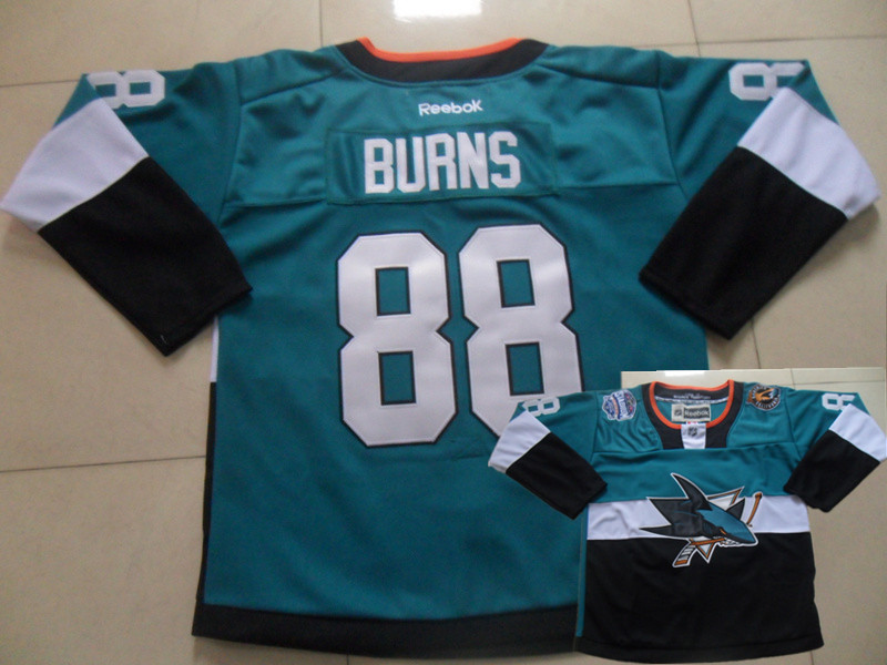 Sharks 88 Burns Teal 2015 Stadium Series Jerseys