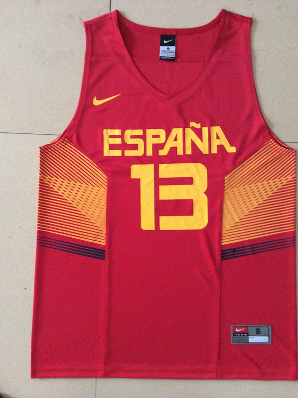 Spain 13 Marc Gasol Red 2014 FIBA Jerseys