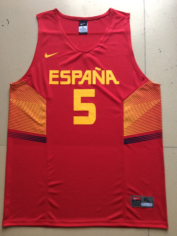 Spain 5 Rudy Fernandez Red 2014 FIBA Jerseys