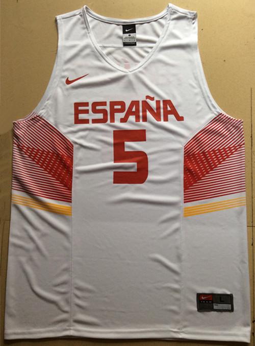 Spain 5 Rudy Fernandez White 2014 FIBA Jerseys