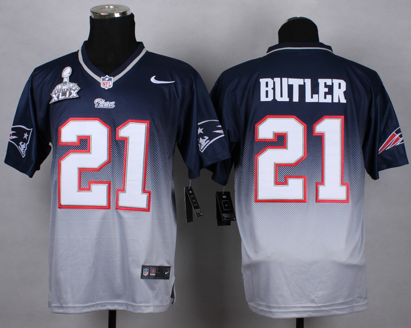 Nike Patriots 21 Butler Blue And Grey 2015 Super Bowl XLIX Drift Fashion II Elite Jerseys
