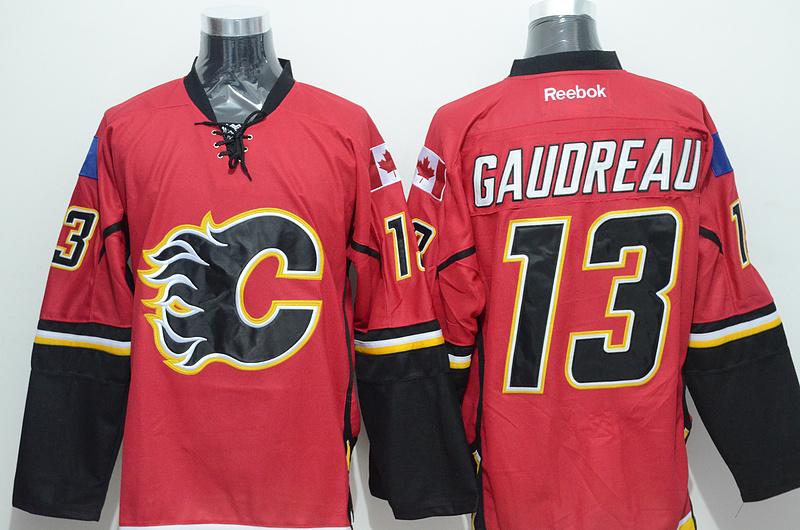 Flames 13 Gaudreau Red Reebok Jersey