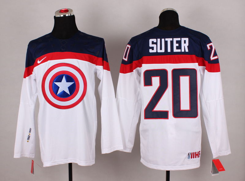 USA 20 Sutter White Captain America Jersey