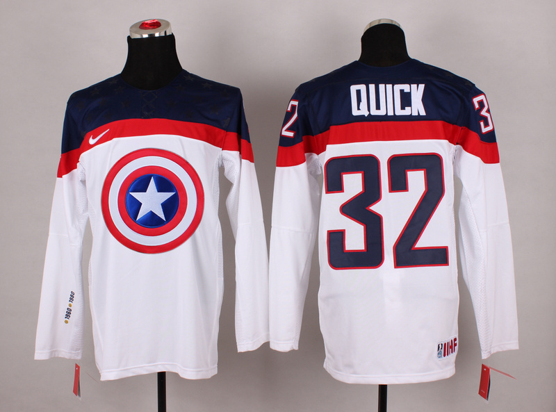 USA 32 Quick White Captain America Jersey