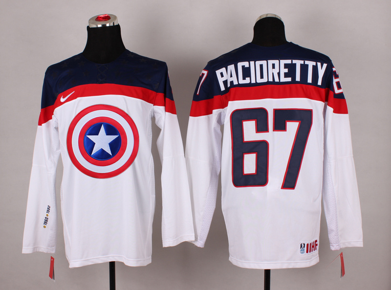 USA 67 Pacioretty White Captain America Jersey