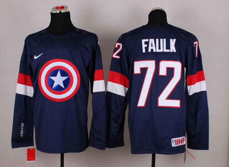 USA 72 Faulk Blue Captain America Jersey