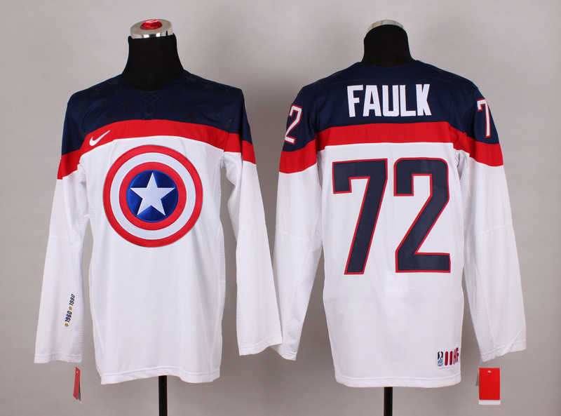 USA 72 Faulk White Captain America Jersey