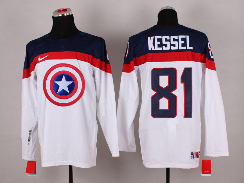 USA 81 Kessel White Captain America Jersey