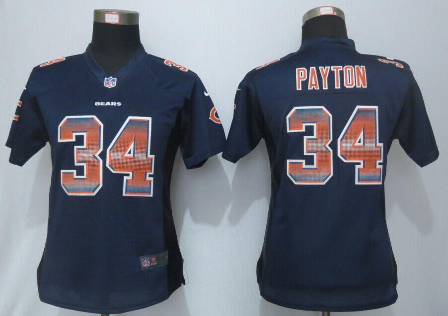 Nike Bears 34 Walter Payton Blue Pro Line Fashion Strobe Women Jersey