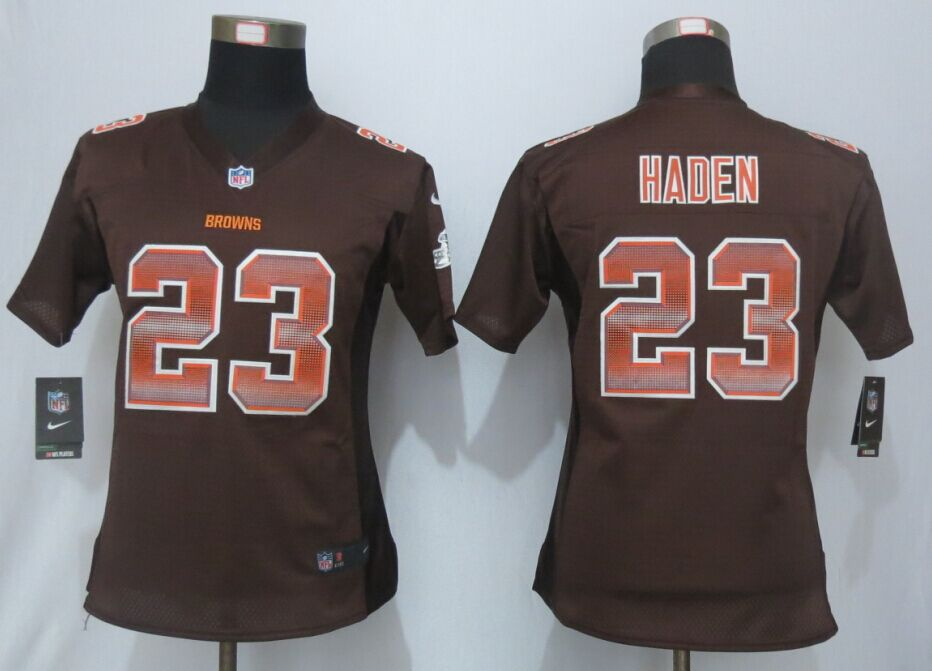 Nike Browns 23 Joe Haden Brown Pro Line Fashion Strobe Women Jersey