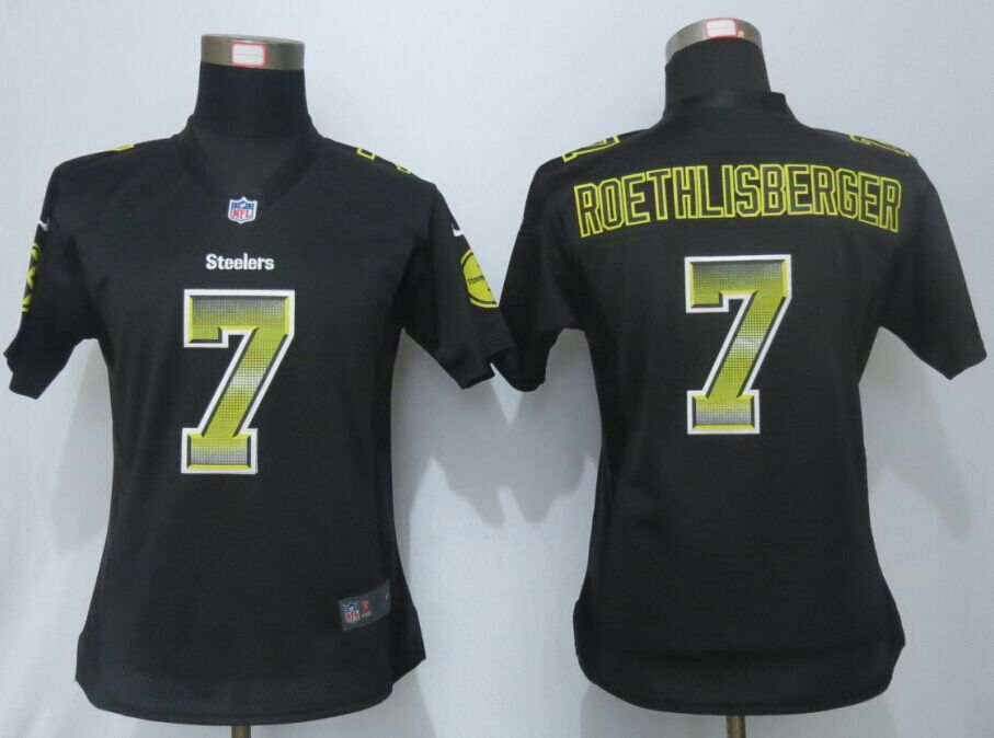 Nike Steelers 7 Ben Roethlisberger Black Pro Line Fashion Strobe Women Jersey