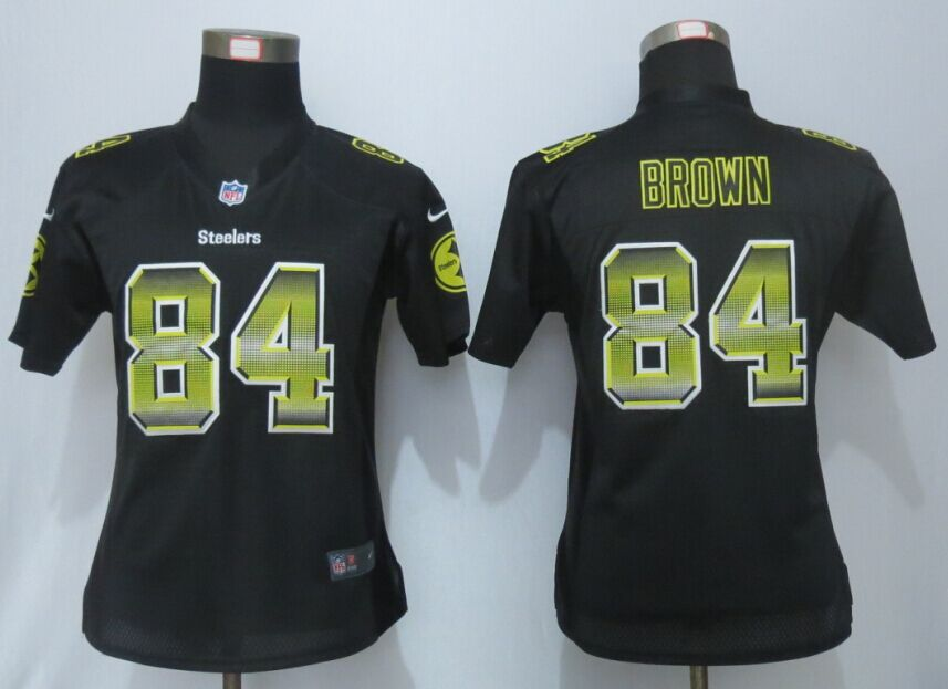Nike Steelers 84 Antonio Brown Pro Line Fashion Strobe Women Jersey