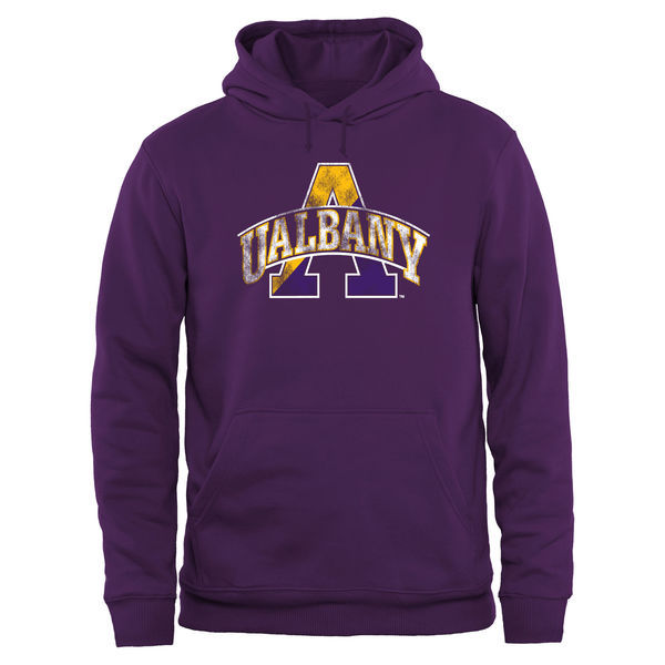 Albany Great Danes Team Logo Purple College Pullover Hoodie2