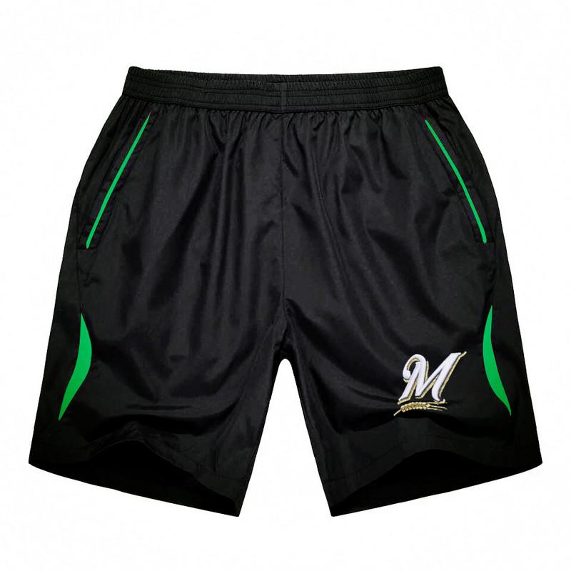 Men's Milwaukee Brewers Black Green Stripe MLB Shorts