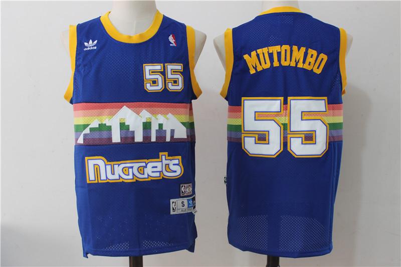 Nuggets 55 Dikembe Mutombo Blue Hardwood Classics Swingman Jersey