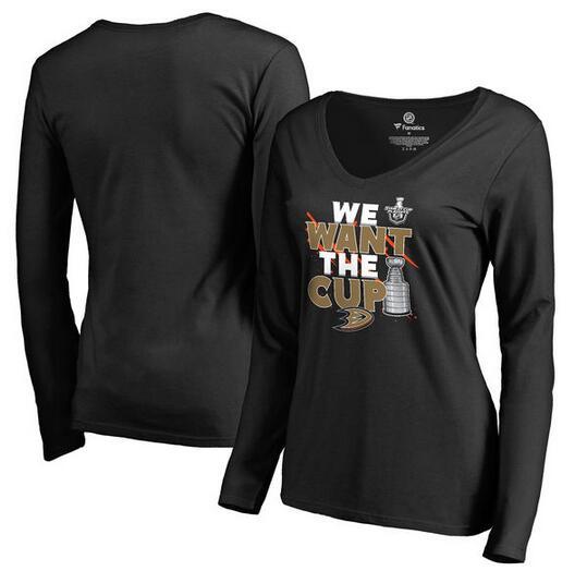 Anaheim Ducks Fanatics Branded Women's 2017 NHL Stanley Cup Playoff Participant Blue Line V Neck Long Sleeve T Shirt Black
