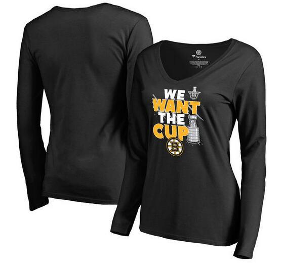 Boston Bruins Fanatics Branded Women's 2017 NHL Stanley Cup Playoffs Participant Blue Line Long Sleeve V Neck T Shirt Black
