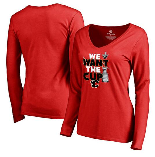 Calgary Flames Fanatics Branded Women's 2017 NHL Stanley Cup Playoff Participant Blue Line V Neck Long Sleeve T Shirt Red