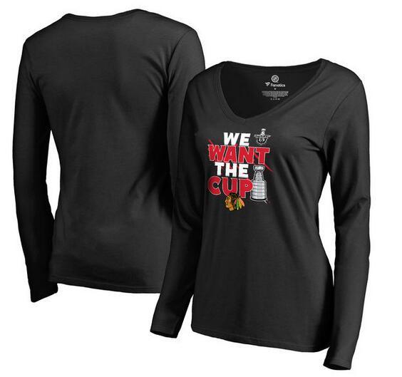 Chicago Blackhawks Fanatics Branded Women's 2017 NHL Stanley Cup Playoff Participant Blue Line V Neck Long Sleeve T Shirt Black