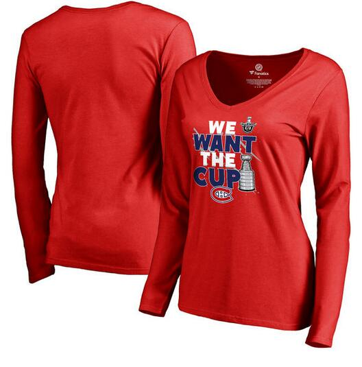 Montreal Canadiens Fanatics Branded Women's 2017 NHL Stanley Cup Playoff Participant Blue Line V Neck Long Sleeve T Shirt Red