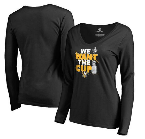 Pittsburgh Penguins Fanatics Branded Women's 2017 NHL Stanley Cup Playoff Participant Blue Line V Neck Long Sleeve T Shirt Black