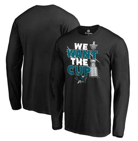 San Jose Sharks Fanatics Branded 2017 NHL Stanley Cup Playoff Participant Blue Line Long Sleeve T Shirt Black